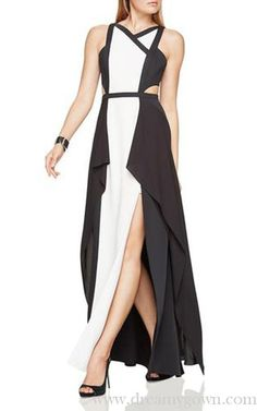 2017 Alyssia BCBG Colorblock Black White Cutout Evening Gown