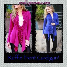 Ruffle Front Cardigan! Wear now & transition into Spring! reallyroxie.com