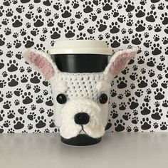 This adorable French Bulldog mug cozy is an original HookedbyAngel design and will be perfect for your travel mug. It is handmade by me! I look at a photo of the dog and recreate it in yarn. It is one of my favorite designs because the French Bulldog has the sweetest face ever! Just imagine what a fun conversation piece this one of a kind handmade item will be for the home or office. It would also be the most thoughtful, unique gift for someone coping with the loss of a pet. The cozy slides…