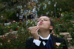 Alec blowing bubbles
