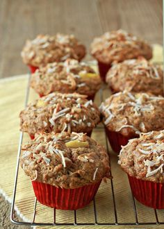 Good Morning Sunshine Muffins (Hearty Carrot Muffins With Coconut And Pineapple) - Kitchen Treaty Coconut Banana Bread, Coconut Muffins, Coconut Oil, Pineapple Muffins, Pineapple Coconut, Muffin Recipes, Baking Recipes, Scones, No Bake Desserts