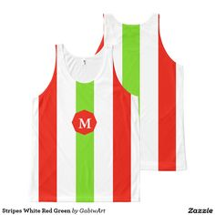 Stripes White Red Green All-Over Print Tank Top
