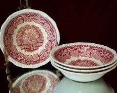 4 Masons Vista Cereal Bowl Set Red English Transferware Soup Bowl Desert Bowls by OldGLoriEstateSale on Etsy
