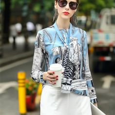 >> Click to Buy << 2017 Summer Women's New Stand Collar Long Sleeve Vintage Printed Real Silk Shirt Ladies Runway Fashion Blouses #Affiliate