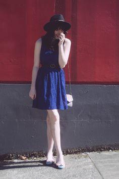 hat, lace dress, flats