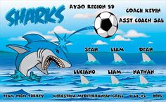 Sharks-46045  digitally printed vinyl soccer sports team banner. Made in the USA and shipped fast by BannersUSA. www.bannersusa.com
