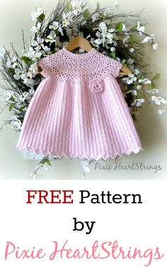 FREE Crochet baby dress pattern by Pixie HeartStrings ༺✿ƬⱤღ  https://www.pinterest.com/teretegui/✿༻