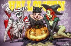 Happy Halloween 2014  - Harley Quinn, Catwoman, Poison Ivy by ArtistAbe on Etsy
