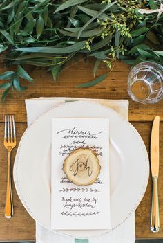 wood cut place cards
