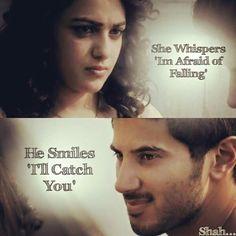 Their eyes actually speaks <3   #dulquersalmaan #nithyamenen