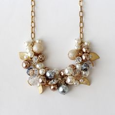 Pearl Crystal Rhinestone Metal Flower Cluster by YuniDesigns