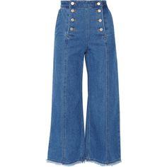 Steve J & Yoni P Denim culottes ($465) ❤ liked on Polyvore featuring pants, capris, jeans, trousers, denim, bottoms, blue, blue pants, denim pants and denim trousers