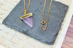 Amethyst Pendant Purple Crystal Necklace Horn Pendant Pagan