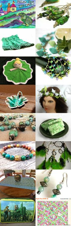 Colorful Greens... by ROSE on Etsy--Pinned with TreasuryPin.com