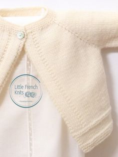 Knitting Pattern Baby Wool Cardigan Instructions in French PDF image 1 Baby Cardigan Knitting Pattern Free, Love Knitting, Knitting Needles, Cardigan Bebe, Wool Cardigan, Strick Cardigan, Crochet Fall, Knit Crochet, Booties Crochet