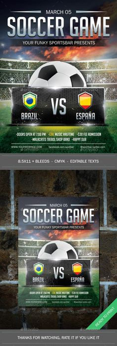 Soccer World Champion Match  Photoshop  Flyer Template Event