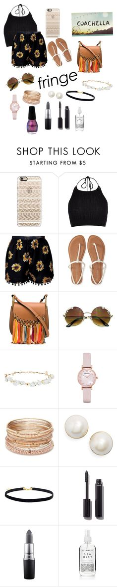 """""""Fringe- Coachella 16'"""" by rileyxmia ❤ liked on Polyvore featuring Casetify, River Island, Aéropostale, Chloé, Design Lab, Emporio Armani, Red Camel, Kate Spade, Chanel and MAC Cosmetics"""