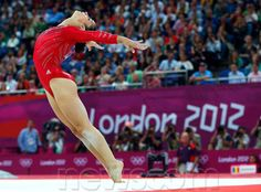 Alexandra Raisman of the U.S. performs her floor exercise during the women's gymnastics team final in the North Greenwich Arena at the London 2012 #Olympic