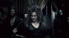 Bellatrix Lestrange...total BAMF villain...need to be her for Halloween some year.