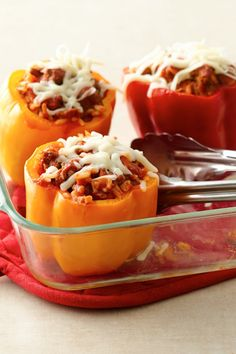 These stuffed peppers are a great way to use up leftover rice or meat!