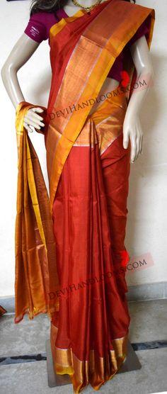 Uppada Red with Mustard yellow Plain Silk Saree by UppadaPattu on Etsy