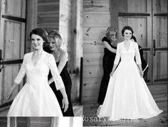Vintage 3/4 sleeves v neck lace taffeta wedding dress by rosary11, $329.00