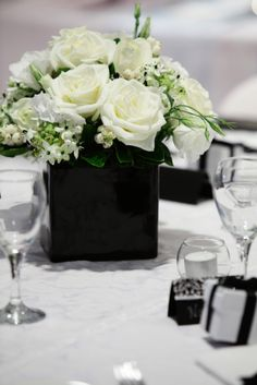 350 best black white wedding flowers images on pinterest wedding white flowers in black vases mightylinksfo