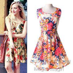 2015 Women Summer Dresses Cute Flower Print Sleeveless Chiffon Dress Fashion Casual Vest Sundress Floral Mini vestidos femininos