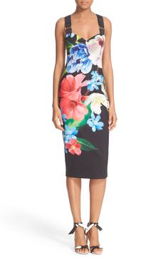 Ted Baker London 'Alexie' Floral Print Midi Dress available at #Nordstrom