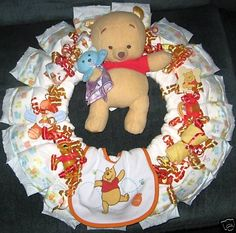Disney Pooh & Friends Baby Shower Gift - Diaper Wreaths BUy for $34.99 or DIY