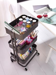 The RÅSKOG trolley is a great way to keep all your sewing items neatly stored and easily accessible.