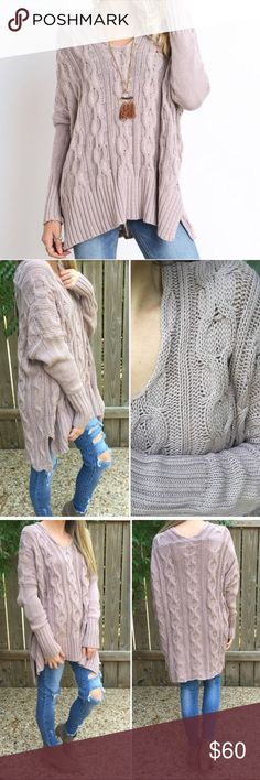mauve cable knit sweater • wishlist just like the free people version but more well made in my opinion the absolute perfect chunky cable, pictures & description belong to @threebeez Wishlist Sweaters