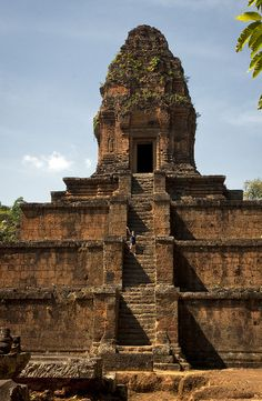 Baksei Chamkrong (Khmer: ប្រាសាទបក្សីចាំក្រុង) is a small Hindu temple located in the Angkor complex (Siem Reap, Cambodia). It is dedicated to Lord Shiva and used to hold a golden image of him. The temple can be seen on the left side when entering Angkor Thom at the southern gate. It was dedicated to Yasovarman by his son, King Harshavarman I. The temple was completed by Rajendravarman II (944-968)