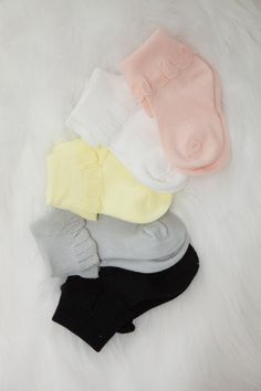 Five pretty colors for your princess to wear with beautiful trim... this listing is for five colors: pink, grey, black, yellow and white Please let me know if you have any questions, i would be happy to help.. Thank you for stopping by, Jacqueline