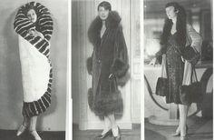 Manteaux des années 20: Les manteaux portefeuille en fourrures recouvrent les femmes vêtues de légères robes de soirées.  à gauche Greta Garbo dans un manteau de fourrure blanche.
