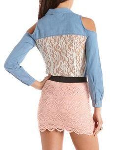 Lace Back Cold Shoulder Denim Top