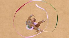 Evgeniya Kanaeva of Russia competes during the Individual All-Around Rhythmic Gymnastics final