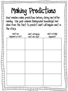 Prediction worksheet - use with the book The Wednesday Surprise.