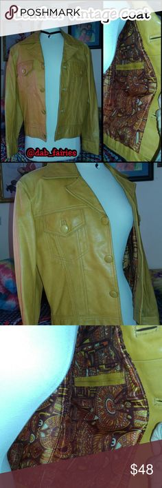 Vintage hard leather coat Awesome leather vintage coat from the seventies. Mustard color with  print lining and inside pocket. Size small message me for more details or offers. Hard leather. Some discoloration from age but does not affect the look of Coat. #vintage #70s #mustard #hardleather #small #history #coolcat #insidepocket Vintage Jackets & Coats