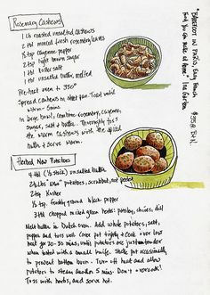 """Kicked back in Barnes and Nobel today looking at a French cookbook. Found lots of mouth-watering ideas, but most were too long and drawn-out to put in the sketchbook. These two short ones looked good - and easy! The first is for """"Rosemary Cashews,"""" a"""