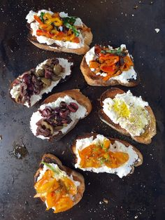Ricotta Bruschetta with Olives, Peppers & Tomatoes - Creamy ricotta atop crispy bruschetta topped with a veritable variety of delicious & nutritious veggies.  A deliciously easy recipe! - theoptimalistkitchen.com