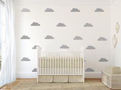 Cloud decal Gold cloud wall decals silver clouds wall by Jesabi