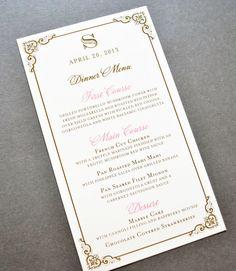 Blush Wedding Menus, Blush and Gold Wedding Menus by Whimsy B. Paperie, $1.75