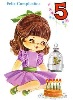 Vintage 70s Birthday postcard of a Big Eyed Girl, Fifth  Birthday