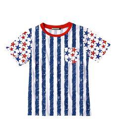 Navy Stripe & Red Star Pocket Tee - Toddler & Boys