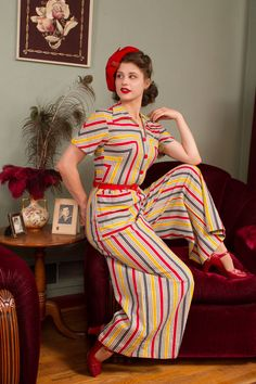 Vintage Jumpsuit - Rare Striped Cotton Plisse Wide Legged Jumpsuit with Button Front in Tomato Red, Yellow and Charcoal Grey 1940s Outfits, 1940s Dresses, Retro Outfits, Vintage Outfits, Vintage Clothing, Vintage Wardrobe, Vintage Dresses, 1930s Fashion, Vintage Fashion