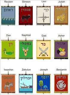 """Banners for the 12 Tribes of Israel, not """"official"""", but designed by info from the Bible."""