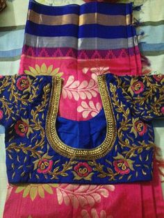 To buy, pls whatsapp on 9618821933 Embroidered blouse Saree Blouse Patterns, Sari Blouse Designs, Bridal Blouse Designs, Blouse Styles, Mirror Work Blouse, Indian Blouse, Blouse Models, Indian Designer Wear, Embroidered Blouse