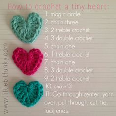 My IG feed is equally full of people making these adorable hearts and people who want to learn how! Since it's so easy, I thought I would... Cœurs Au Crochet, Easy Crochet, Crochet Appliques, Crochet Embellishments, Crochet Motifs, Cute Crochet, Crochet Toys, Small Crochet Gifts, Crochet Stitches