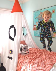 Childrens Rocket Bed Canopy. Do as a curtain for his closet?